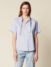Short-Sleeved Poplin Shirt : null color Blue