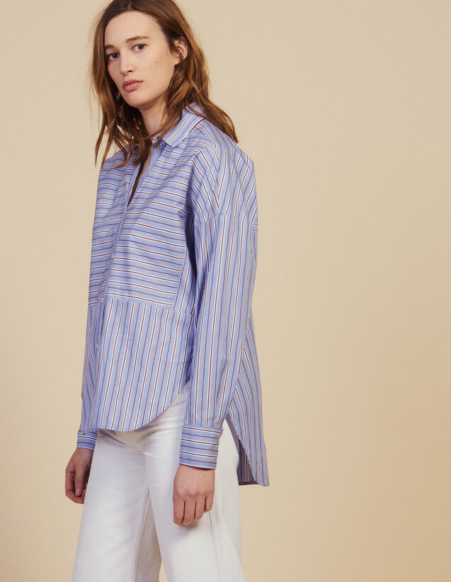 Cotton Shirt With Stripes : Printed shirt color Blue