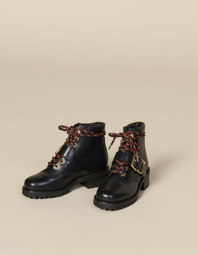Smooth Leather Ranger Boots : All Shoes color Black