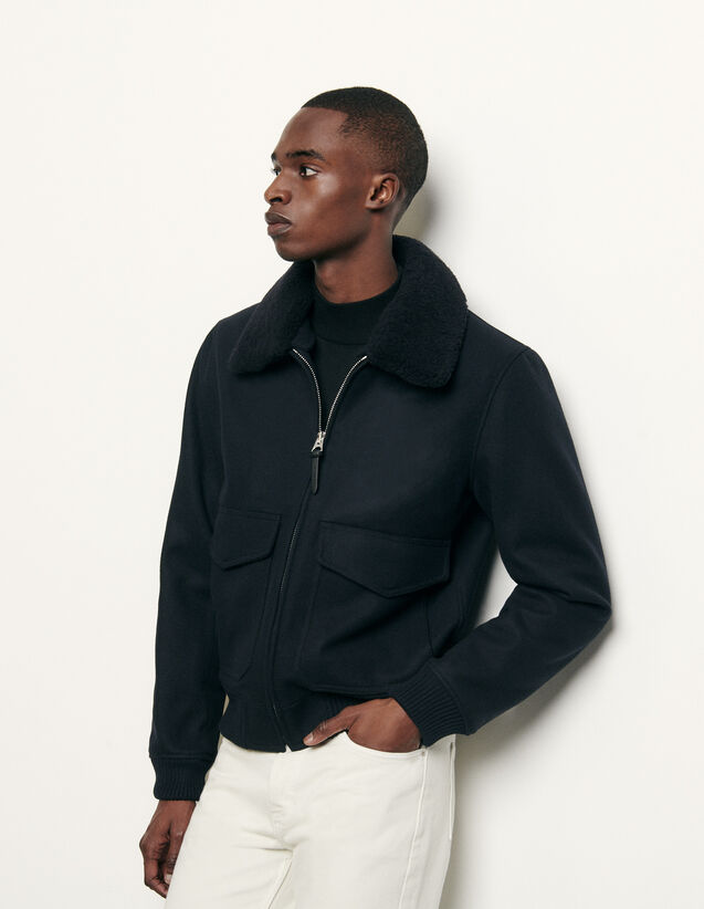 Aviator jacket with sheepskin collar : Blazers & Jackets color Navy Blue