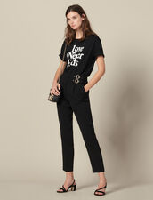 High-waisted trousers with buckles : Copy of Pants and Jeans color Black