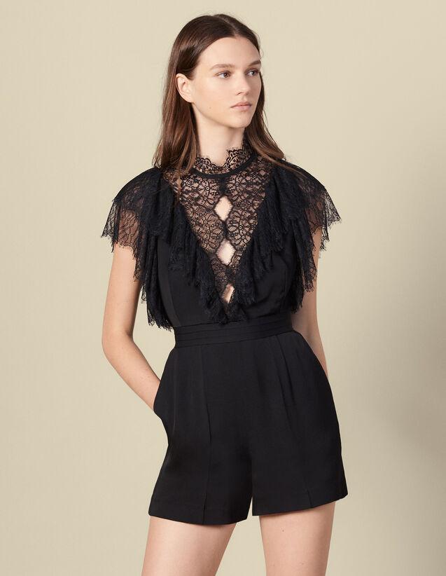 Playsuit with lace detail : Jumpsuits color Black