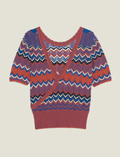 Wrapover Knit Top : null color Terracotta