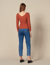 Sweater Trimmed With Branded Press Studs : Copy of VP-FR-FSelection-Pulls&Cardigans color Terracotta