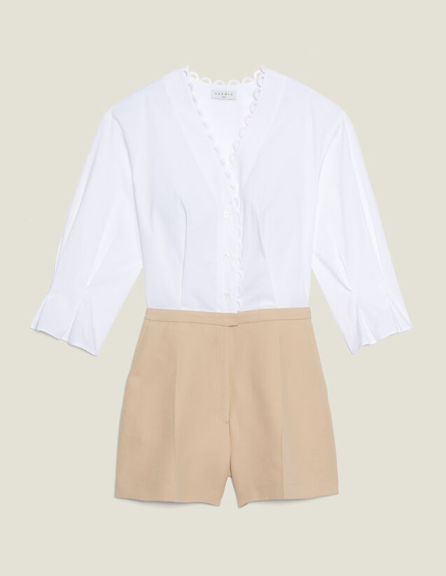 Dual Fabric Playsuit With Blouse : null color Beige