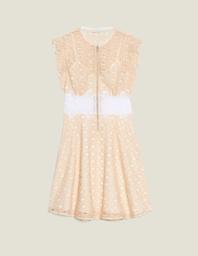 Short Guipure Dress : Dresses color Ivory