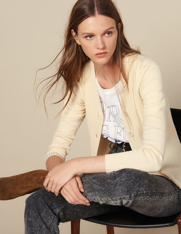 Ribbed Knit Buttoned Cardigan : Sweaters & Cardigans color Black