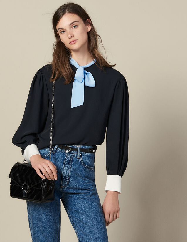 Floaty Top With Contrasting Pussy Bow : Tops & Shirts color Black