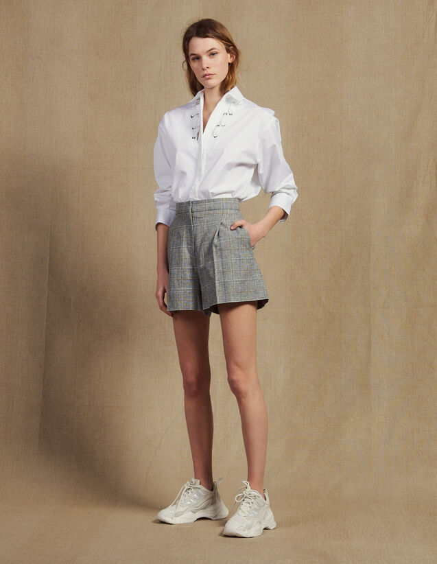 Checked Shorts : Skirts & Shorts color Grey