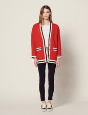 Long Cardigan With Printed Lining : Sweaters & Cardigans color Red