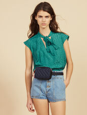 Sleeveless Top With Tie Neckline : All Selection color Green