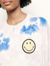 Tie-dyed sweater with embroidered smiley : Sweaters & Cardigans color Multi-Color