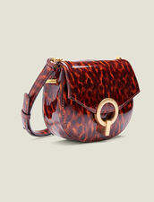 Pépita Patent Leather Bag, Small Model : All Accessories color Orange leopard