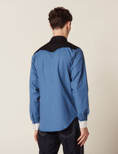 Colourblock Western-Style Shirt : All Selection color Blue