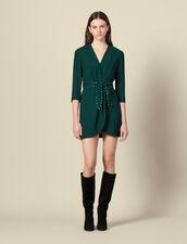 Shoulder pad dress with rhinestone belt : Dresses color Green