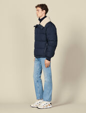 Padded jacket with wide fur collar : Copy of The Selection color Navy Blue