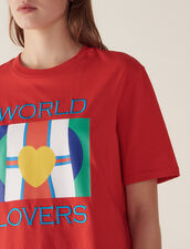 T-Shirt With Flags Logo And Embroidery : T-shirts color Red