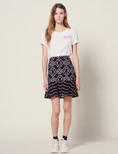 Short Guipure Skirt : null color Black