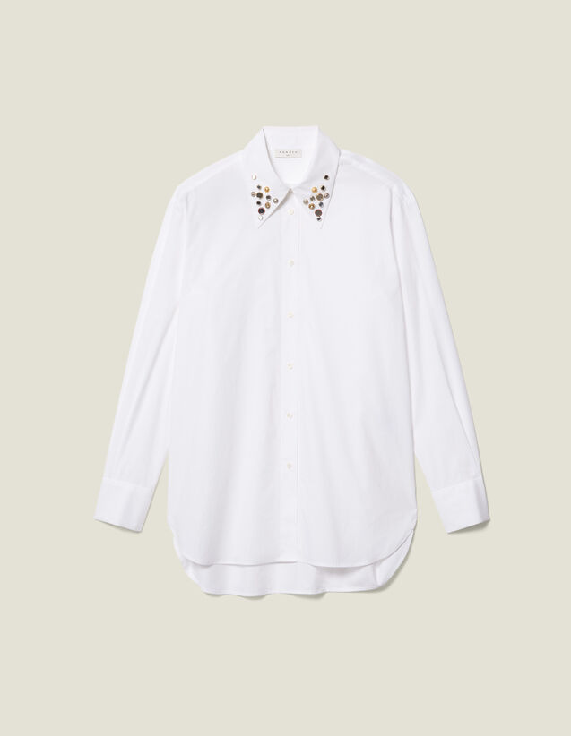 Asymmetric Shirt Trimmed With Studs : New In color white