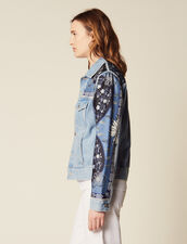Denim Jacket With Printed Insets : All Selection color Blue Vintage - Denim