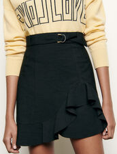 Short skirt with asymmetric ruffle : Skirts & Shorts color Black