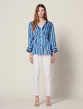 Striped Shirt With Press Studs : Printed shirt color Blue