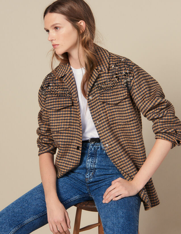 Oversized Checked Shirt Jacket : Blazers & Jackets color Multi-Color