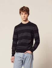 Cotton Sweater With Fine Stripes : All Selection color Navy Blue
