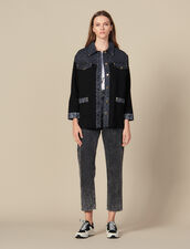 Cardigan With Denim Inset : Sweaters & Cardigans color Black