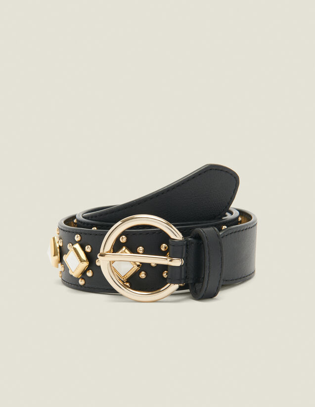 Belt with studs and acetate gemstones : Summer Collection color Black