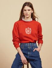Detachable Victorian Collar Sweatshirt : null color Red