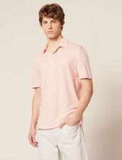 Short-Sleeved Linen Polo Shirt : Sélection Last Chance color Light pink
