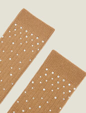 Socks embellished with rhinestones : All Winter collection color Camel