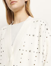 Oversized cardigan with jewelled rivets : Sweaters & Cardigans color Ecru