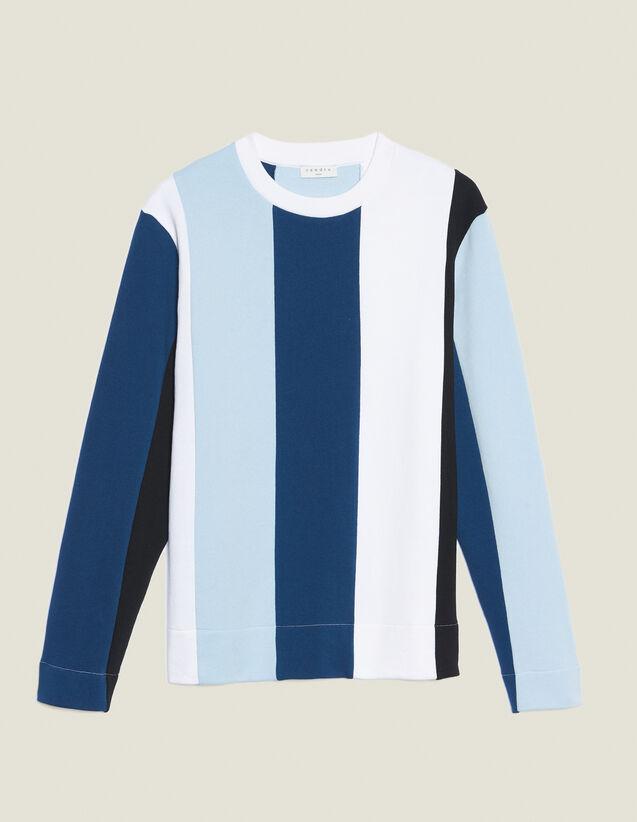 Sweatshirt With Wide Contrasting Stripes : Sélection Last Chance color Blue