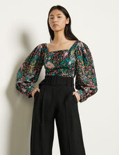 Printed silk top : Tops & Shirts color Black