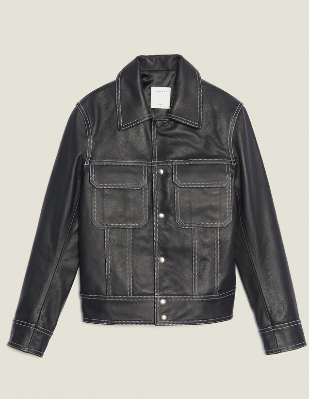 Topstitched Leather Jacket : Sélection Last Chance color Black