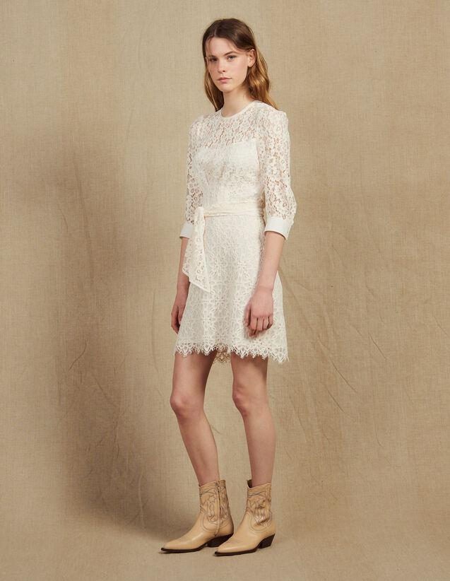 Short Lace Dress With Belt : null color Nude