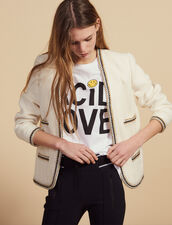 Tweed Jacket Finished With Braid Trim : Blazers & Jackets color Ecru