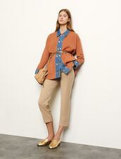 Oversized cardigan with denim inserts : Sweaters & Cardigans color Brown