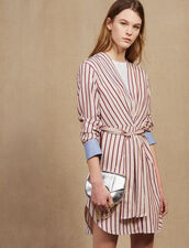 Long-Sleeved Striped Short Dress : All Selection color Bordeaux
