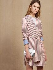 Long-Sleeved Striped Short Dress : LastChance-FR-FSelection color Bordeaux