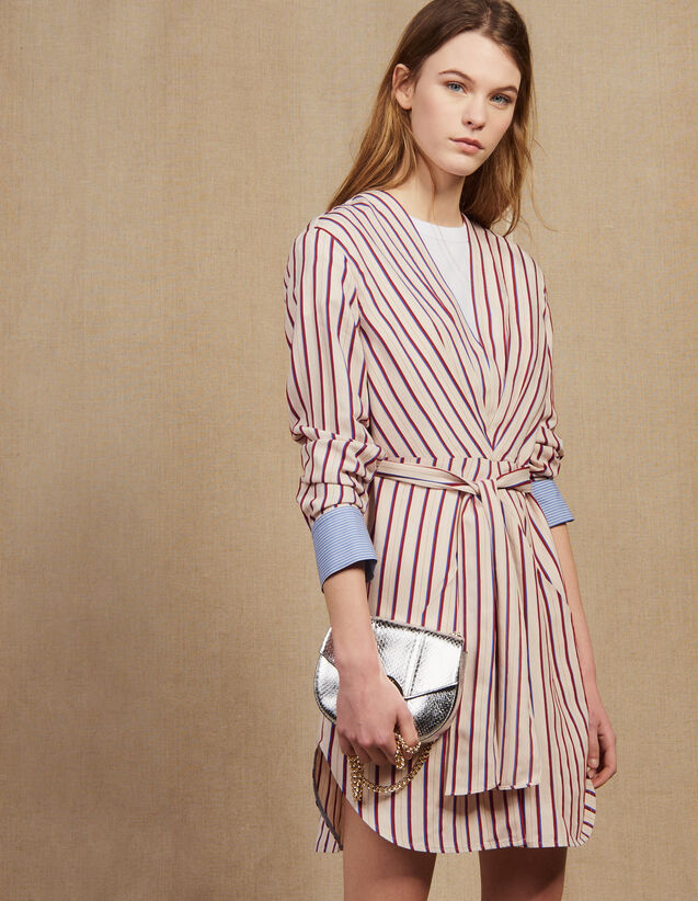 Long-Sleeved Striped Short Dress : null color Bordeaux