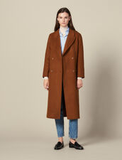 Long Fringed Coat In Double Faced Wool : LastChance-ES-F50 color Light Brown