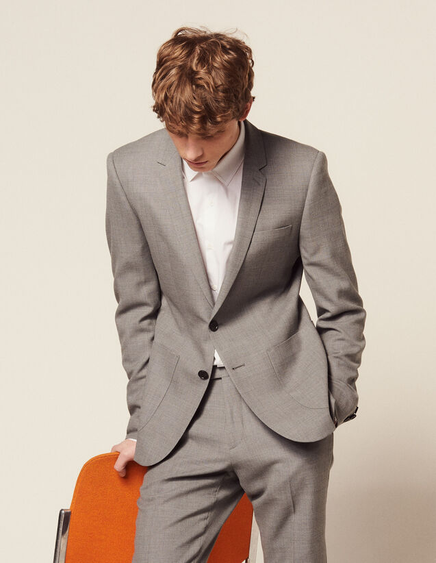 Piqué Wool Suit Jacket : Suits & Tuxedos color Light Grey