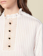 Striped voile top with panel : Tops & Shirts color Ecru