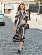 Long dress with striped design : All Selection color Beige / Blue