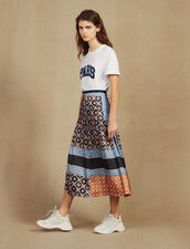 Long Printed Skirt With Pleats : Skirts & Shorts color Blue