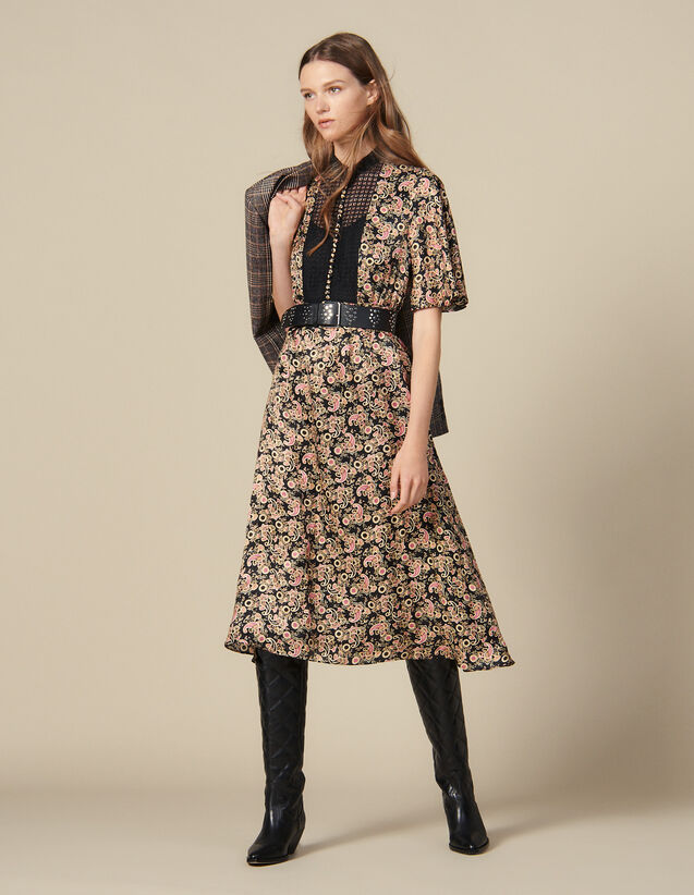 All Over Printed Midi Dress : Dresses color Black
