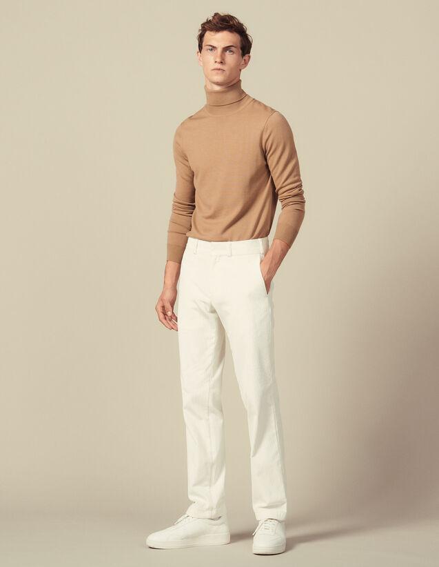 Straight-Cut Velvet Trousers : Air color Ecru